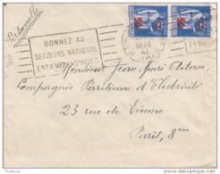 Lettre Avec Type Paix Surchargé Mai 1941 Flamme Donnez Au Secours Populaire - 1932-39 Peace