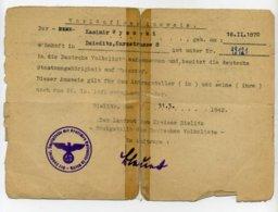 DR.; Vorläufiger Ausweis; Bielitz, 31. 3. 1942; R ! - Documenti