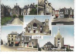 44 - LEGE - T.B. Carte Couleur Multi Vues ( Eglise , Château , Place Du Marché , Monument Aux Morts ) - Legé