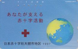 Télécarte Japon / 110-191 - CROIX ROUGE / Globe Terrestre - RED CROSS Globus Map Japan Phonecard - ROTES KREUZ MD CR 302 - Espacio
