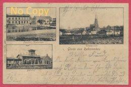 Radzionkau = Radzionków Schlesien Polen - Poland : Letocha Kretscham + Bahnhof / Bahnpost Breslau - Kattowitz Krieg 1915 - Polen
