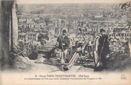 RARE CPA : SIEGE DE PARIS MONTMARTRE CANONS BRAQUES SUR PARIS GUERRE 1870 PRUSSE PRUSSIENS EMPIRE METZ SEDAN - Arrondissement: 18