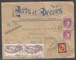 RECOMMANDÉ AVEC AR DE FOURCHAMBAULT (NIÈVRE) POUR LYON - 1947 - ARTS ET DÉCORS - - Francia