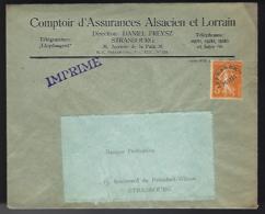 LETTRE POUR STRASBOURG - AFFRANCHISSEMENT T. PRÉOBLITÉRÉ 5c SEMEUSE - Precancels