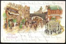 BERLIN Bahnhof Friedrichstrasse 1902  Litho Karte - Mitte