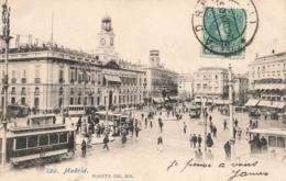 Espagne Madrid Puerta Del Sol + Timbre Cachet Madrid 1905 Cpa Carte Animée Tram Tramway - Madrid