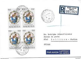 158 - 34 - Enveloppe Recommandée Envoyée De Port-Louis En Suisse 1981 - Mauritius (1968-...)