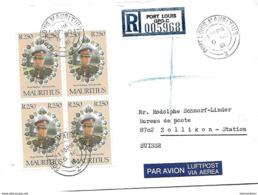 158 - 33 - Enveloppe Recommandée Envoyée De Port-Louis En Suisse 1981 - Mauritius (1968-...)