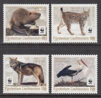 2017 Liechtenstein WWF Beaver Crane Cats Wolf  Complete Set Of 4  MNH  @ Below Face Value - Unused Stamps
