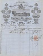 """08665 """"GIOVANNI GILARDINI - FABBRICA OMBRELLI E FORNIT. RELATIVE, PELLICCERIE, MAZZE..... - TORINO - FATTURA 1884"""" ORIG. - Italia"""