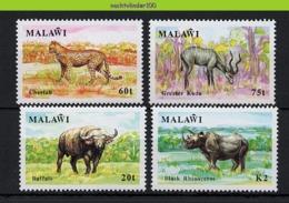 Nff030 FAUNA ZOOGDIEREN KAT CHEETAH NEUSHOORN BUFFEL KUDU RHINO CAT BUFFLE MAMMALS WILDLIFE MALAWI 1991 PF/MNH - Gibier