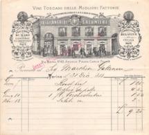 """08667 """"LUIGI ANSALDI SALUMIERE - VINI TOSCANI DELLE MIGLIORI MARCHE - PESCHERIA DI MARE...- TORINO - FATTURA 1888"""" ORIG. - Italia"""