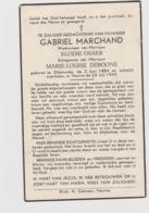 DOODSPRENTJE MARCHAND GABRIEL WEDUWNAAR OSAER ECHTGENOOT DEBOONE DIKSMUIDE VEURNE (1884 - 1949) - Imágenes Religiosas