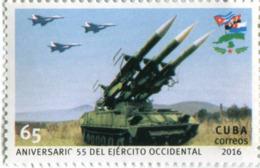 Lote CU2016-8, Cuba, 2016, Sello, Stamp, Aniversario 55 Del Ejercito Occidental, Western Army, Plane, Missile - Cuba