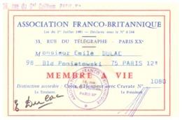 ASSOCIATION FRANCO-BRITANNIQUE -MEMBRE A VIE- N°10806-DISTINCTION ACCORDEE CROIX D'HONNEUR AVEC CRAVATE   PARIS XII - Mappe