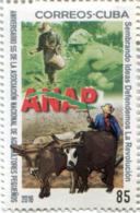 Lote CU2016-9, Cuba, 2016, Sello, Stamp, Aniversario 55 De La ANAP, Farmer, Ox, Map - Cuba