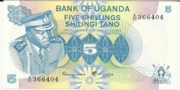 UGANDA 5 SHILLINGS 1977 PICK 5A UNC - Uganda