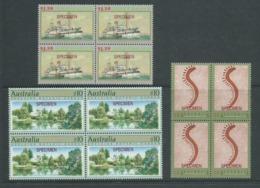 Australia 1994 Specimen Overprints Part 1 $1.05 / $1.2 / $10 MNH Blocks Of 4 - Uncommon - 1990-99 Elizabeth II