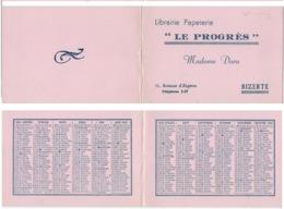 """Calendrier Publicitaire Horizontal Pliant Librairie Papeterie """" LE PROGRÈS"""" Madame DARU BIZERTE ( TUNISIE ) 1956 - Calendriers"""