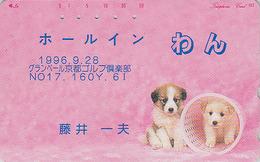 Télécarte Japon / MD 110-212 -ANIMAL -  CHIEN & GOLF - DOG & Sport Japan Phonecard - HUND Telefonkarte - 1007 - Chiens