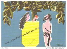 Carte Postale : Illustration Bernard Villemot (Adam Et êve - Pomme) - Autres Illustrateurs