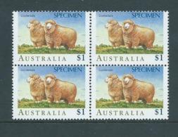 Australia 1989 Specimen Overprint On $1 Sheep Fine MNH Block Of 4 - Mint Stamps