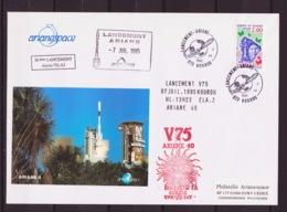 "ESPACE - ARIANE Vol Du 1995/07 V75 - Arianespace - 1 Maxi Enveloppe ""50e Lancement Depuis ELA2"" - Europe"