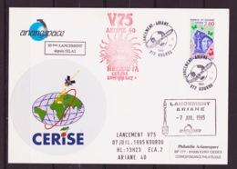 ESPACE - ARIANE Vol Du 1995/07 V75 - Arianespace - 1 Maxi Enveloppe Satellite CERISE - Europe