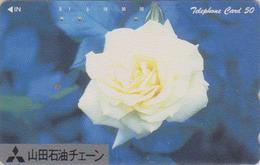 Télécarte Japon / NTT 111-034 AVEC SURCHARGE - Fleur - ROSE Blanche Flower OVERPRINT Japan Phonecard - Blume TK - Japon