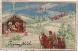 Cartolina Augurale Buon Natale Francese Con Natività, Pastori E Angelo. Scritta Non Viaggiata - Natale