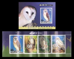 North Korea 2006 Mih. 5149/52 Fauna. Birds. Owls (booklet) MNH ** - Korea, North