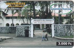 COMOROS ISL. - Universite Des Comores, Comores Telecom Recharge Card 3000 Fc, Used - Comore
