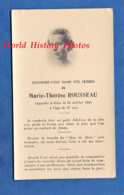 Faire Part De Décés Avec Photo - Marie Thérèse ROUSSEAU Décédée Le 25 Juillet 1954 - Lyon Ou Environs - Décès
