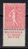 France - SEMEUSE 50c Rose YT N° 199 Avec BANDE PUBLICITAIRE PUB Issue Du CARNET BUSSANG NEUF XX - Advertising