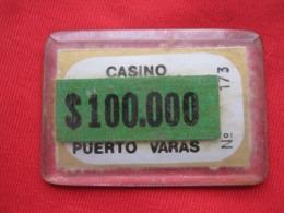 Chile  Ficha  Chip 100.000 Pesos Casino De Puerto Varas - Casino