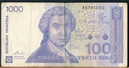 °°° CROAZIA - 1000 DINARA 1991 °°° - 2005-... (Polymer)