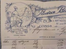 Cx 9) Portugal Fatura Pereira Paixão L.da Armazens Fazendas Retrozeiro R. Dos Fanqueiros 22,5x12,5cm - Portugal
