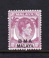 Malaya B.M.A  SG 8a 1945 British Military Administration,10c Purple,mint Never Hinged - Malaya (British Military Administration)