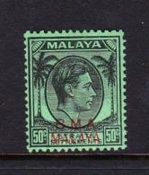 Malaya B.M.A  SG 14 1945 British Military Administration,50c Black-emerald,mint Never Hinged - Malaya (British Military Administration)
