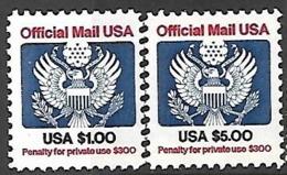 US  1983  Sc#O132-3 $1 & $5 Officials  MNH  2016 Scott Value $11.65 - Dienstpost