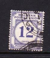 Malayan Postal Union D20 1951 Postage Due 12c Pale Cright Purple - Malayan Postal Union