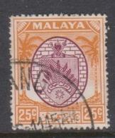 Malaya-Negri Sembilan Scott 51 1949 Arms 25c Orange And Roselilac,used - Negri Sembilan