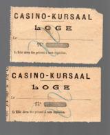San Sebastian (Espagne)  Ou Oostende (Belgique) Lot De 2 Tickets D'entrée CASINO-KUURSAAL (PPP20359) - Biglietti D'ingresso