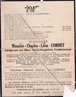 Oorlogsslachtoffer, 1940, Maurice Cornet, 1945, Rechlinghausen, Diksmuide, Rouwbrief - Images Religieuses