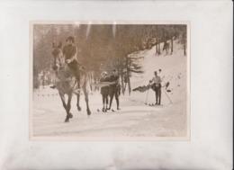 SWISS SNOW SCENE RIVAL ATTRACTION SKIJORING SKIING SWITZERLAND  20*15CM Fonds Victor FORBIN 1864-1947 - Sin Clasificación
