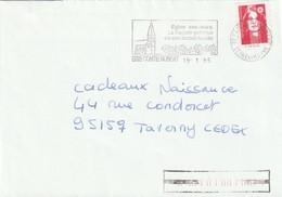 """Lettre De """"Brie Comte Robert"""" (Seine-et-Marne, 77) Du 19-01-1995, """"Eglise, Façade Gothique De Son Ancien Musée"""" En FD - Marcophilie (Lettres)"""