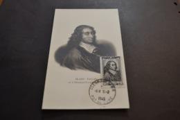 Carte Maximum 15/02/1945 Série Célébrités Blaise Pascal N°614 - 1940-49