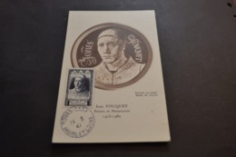 Carte Maximum Célébrités 14/03/1947 FOUQUET N° 766 + Variété Casque A Pointe - Cartes-Maximum