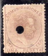 SPAIN ESPAÑA SPAGNA 1872 1873 KING AMADEO XII RE UNA PESETA 1p USED USATO OBLITERE' - 1872-73 Reino: Amadeo I