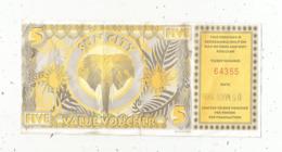 BILLET FICTIF ,AFRIQUE DU SUD , 5 ,five , SUN CITY , Complexe De Loisirs , Value Voucher,  1996 ,2 Scans - Fictifs & Spécimens